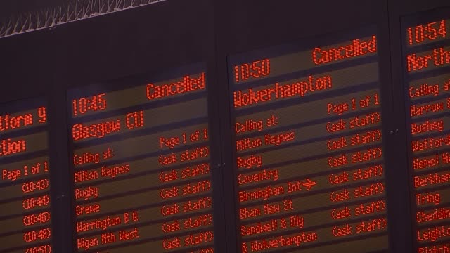 Euston station services cancelled after electrical wires fall onto tracks ENGLAND London Euston Station INT Electronic departures board showing...