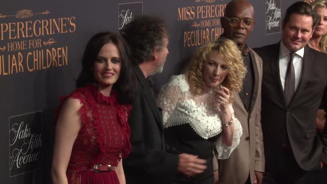 Eva GreenTim Burton guest and Samuel L Jackson at Miss Peregrine's Home For Peculiar Children New York Premiere at Saks Fifth Avenue on September 26...