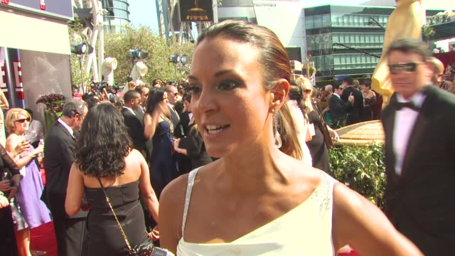 eva la rue on who she's wearing and why she picked it what the emmys are like who she's rooting for at the 62nd primetime emmy awards arrivals part 3... - eva larue stock videos and b-roll footage