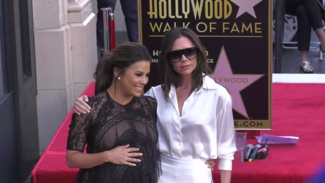 eva longoria and victoria beckham at the eva longoria honored with a star on the hollywood walk of fame on april 16 2018 in hollywood california - walk of fame stock videos & royalty-free footage