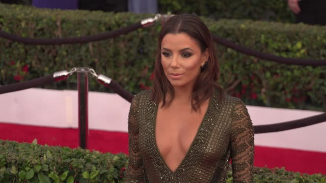 eva longoria at the 22nd annual screen actors guild awards - arrivals at the shrine auditorium on january 30, 2016 in los angeles, california. 4k... - shrine auditorium stock videos & royalty-free footage