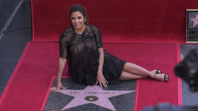 eva longoria at the eva longoria honored with a star on the hollywood walk of fame on april 16 2018 in hollywood california - ウォークオブフェーム点の映像素材/bロール