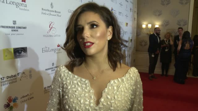 vídeos y material grabado en eventos de stock de interview eva longoria on celebrating another global gift gala at diff when she discovered the importance of giving back and talks about her return... - telenovela