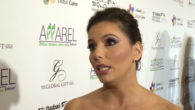 INTERVIEW Eva Longoria on supporting the charity and honoring Melanie Griffith at 2016 Dubai International Film Festival Day 6 at Madinat Jumeirah on...