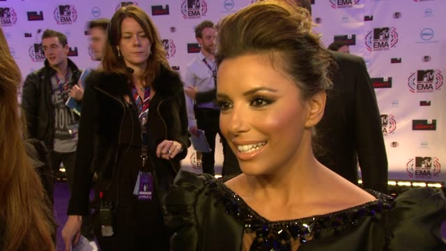eva longoria parker on all her outfits, women being represented in music and katy perry giving her advise . - interview stock videos & royalty-free footage