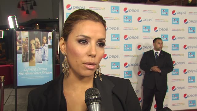 eva longoria parker on her collaboration with pepsi, on her experience as a director, on her new dream at the pepsi presents the premiere of 'latinos... - interview stock videos & royalty-free footage