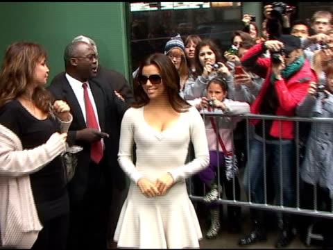 eva longoria signs autographs as she departs 'good morning america' in new york 04/05/11 - autogramm stock-videos und b-roll-filmmaterial