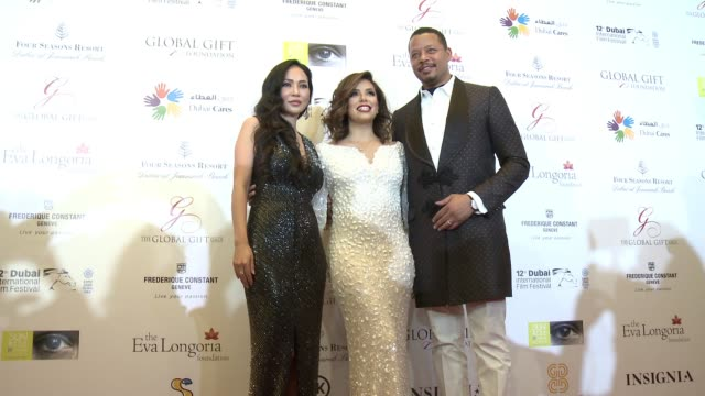 eva longoria, terrence howard, and mira pak at the global gift gala - 12th annual dubai international film festival on december 12, 2015 in dubai,... - terrence howard stock videos & royalty-free footage