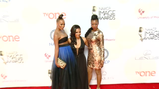 stockvideo's en b-roll-footage met eva marcille and danielle nicolet at the 46th annual naacp image awards arrivals at pasadena civic auditorium on february 06 2015 in pasadena... - pasadena civic auditorium