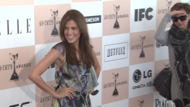 eva mendes at the 2011 independent spirit awards - arrivals part 2 at santa monica ca. - independent feature project stock videos & royalty-free footage