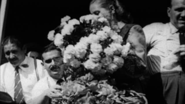 eva peron receiving flowers and addressing crowd / argentina - 1946 stock videos and b-roll footage