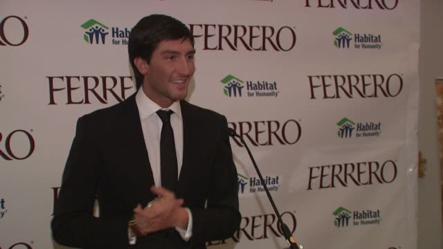 Evan Lysacek on the importance of home and the work of Habitat for Humanity at the Ferrero Chocolates and Evan Lysacek Fashion Event at New York NY