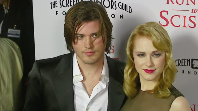 evan rachel wood and brother ivan at the tristar pictures presents 'running with scissors' los angeles premiere at academy of motion picture arts... - tristar pictures stock videos and b-roll footage