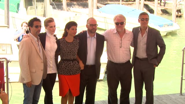 evan rachel wood marisa tomei paul giamatti philip seymour hoffman george clooney at the the ides of march arrivals venice film festival 2011 at... - george clooney stock videos and b-roll footage