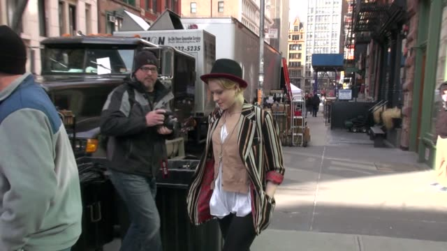 Evan Rachel Wood on location for the film 'A Case of You' in New York on 2/21/2012
