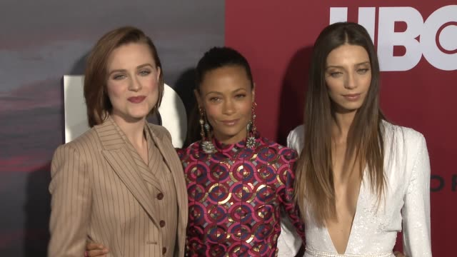 Evan Rachel Wood Thandie Newton and Angela Sarafyan at the 'Westworld' Season 2 Premiere at ArcLight Cinerama Dome on April 16 2018 in Hollywood...