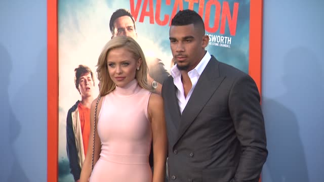 evander kane and mara teigen at the vacation los angeles premiere at regency village theatre on july 27 2015 in westwood california - regency village theater stock videos and b-roll footage