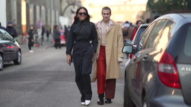 evangelie smyrniotaki and carlo sestini are seen outside marni during milan fashion week fall/winter 2020/2021 on january 11 2020 in milan italy - marni stock videos & royalty-free footage