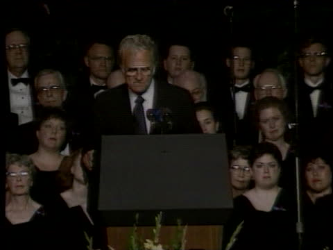 evangelist billy graham speaks at a memorial services following the bombing of the a.p. murrah federal building in oklahoma city. - oklahoma city bombing stock videos & royalty-free footage