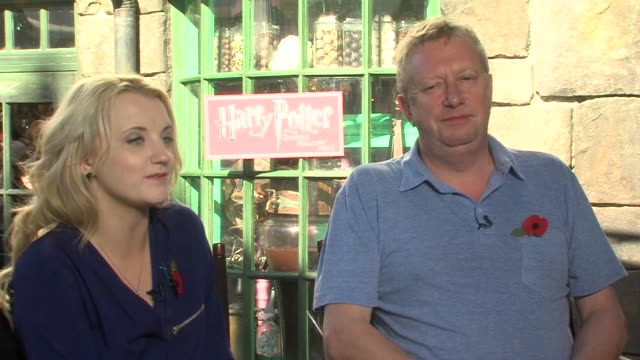 evanna lynch and mark williams on being at the park on the merchandise and on being a part of the 'harry potter films' - evanna lynch stock videos & royalty-free footage