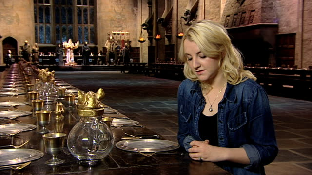 evanna lynch on joining the crew at a tour of the set of harry potter at leavesden studios on march 30 2012 in watford england - evanna lynch stock videos & royalty-free footage