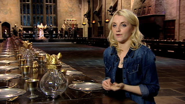 evanna lynch on not taking any props from set at a tour of the set of harry potter at leavesden studios on march 30 2012 in watford england - evanna lynch stock videos & royalty-free footage