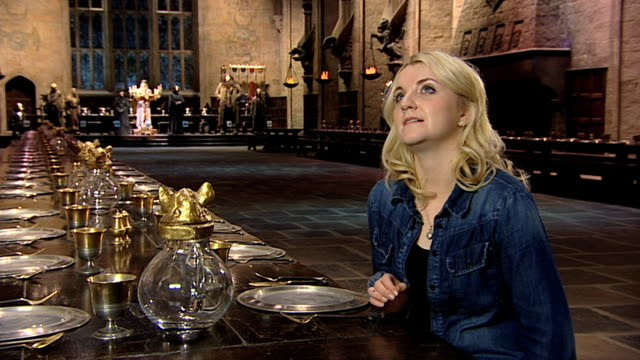 evanna lynch on what she would like to take away from set at a tour of the set of harry potter at leavesden studios on march 30 2012 in watford... - evanna lynch stock videos & royalty-free footage
