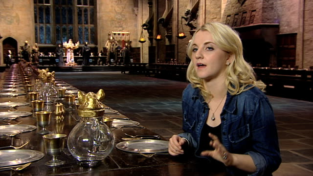 evanna lynch the excitement of the studio at a tour of the set of harry potter at leavesden studios on march 30 2012 in watford england - evanna lynch stock videos & royalty-free footage