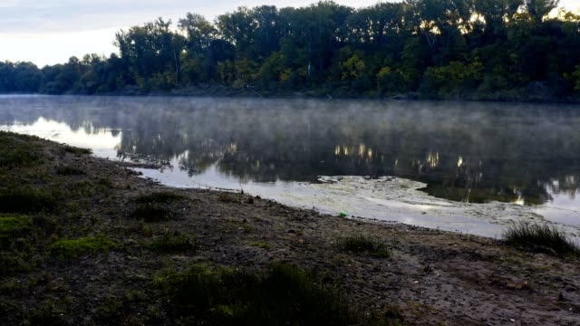 evaporation on a cold morning over the river - evaporation stock videos & royalty-free footage