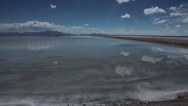 """""""evaporation pools where lithium bicarbonate is isolated from salt brine during the process of lithium production are separated by a narrow strip of... - lithium stock videos & royalty-free footage"""