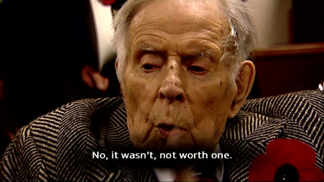 three british veterans reminisce avonmouth int harry patch interview continued sot no it wasn't not worth one close shot harry's hand holding simon... - war veteran stock videos & royalty-free footage