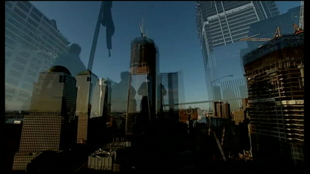 eve of 9/11 tenth anniversary: commemoration ceremonies underway; new york: new york city: people along with skyscrapers, including 'one world trade... - one world trade center stock-videos und b-roll-filmmaterial