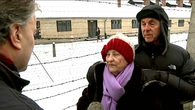 eve of auschwitz 70th anniversary: stories of holocaust survivors; rose schindler and max schindler along with others during visit to auschwitz... - survival stock videos & royalty-free footage