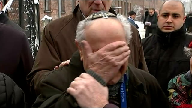 stories of holocaust survivors poland auschwitz group of people gathered at 'arbeit macht frei' entrance gates/ mordechai ronen hugging man and... - campo di concentramento video stock e b–roll