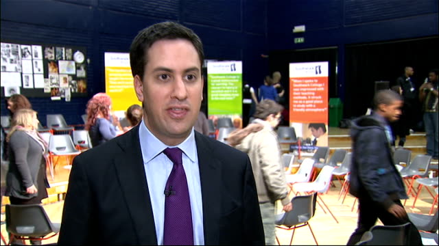 eve of vote on rise in university tuition fees ed miliband at southwark college england london southwark college int ed miliband mp interview sot... - fee stock videos & royalty-free footage