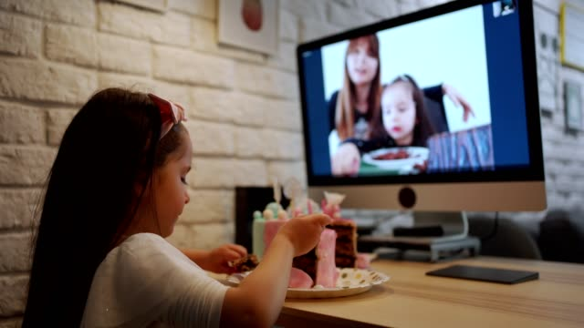 even if her friends cant come for her birthday celebration her cousins surprised her with a video call - birthday cake stock videos & royalty-free footage