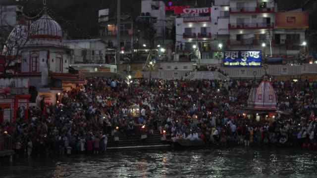 evening 'aarti' prayer for the river ganges / haridwar is an ancient city and important hindu pilgrimage site where the river ganges exits the... - foothills stock videos & royalty-free footage