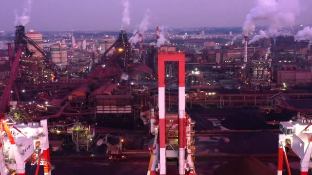 evening aerial view of bayside industrial facilities - built structure点の映像素材/bロール
