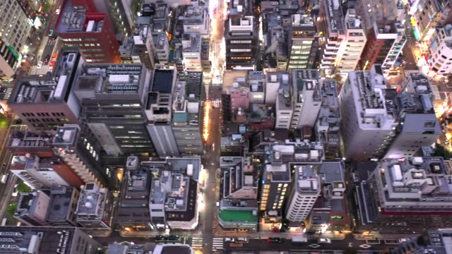 evening aerial view of shimbashi city, tokyo - 活動点の映像素材/bロール