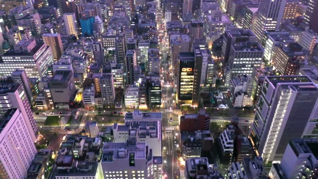 evening aerial view of shimbashi city,tokyo - street light stock videos & royalty-free footage