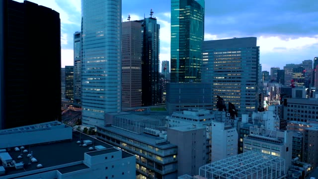 evening aerial view of tokyo city - 40 seconds or greater stock videos & royalty-free footage