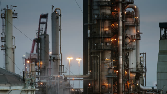 evening at california oil refinery - long beach california stock videos & royalty-free footage