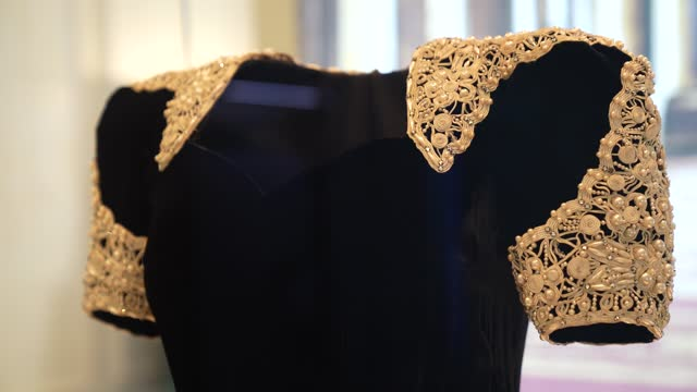 """evening dress worn by queen elizabeth the queen mother on display during the """"royal style in the making"""" exhibition photocall at kensington palace on... - twilight stock videos & royalty-free footage"""