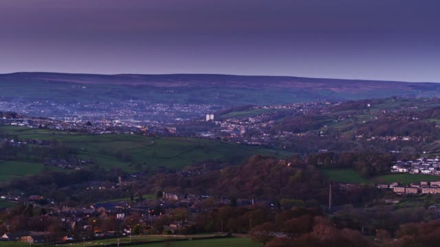 evening in west yorkshire - aerial view - west yorkshire stock videos & royalty-free footage