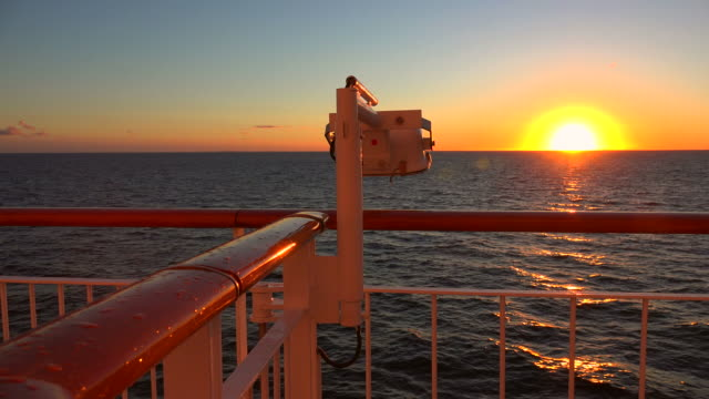 evening mood on a ferry ship on baltic sea, norway, scandinavia, europe - safety rail stock videos & royalty-free footage