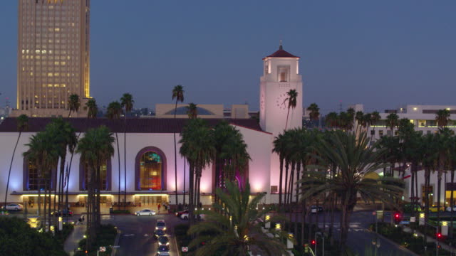 evening outside union station, los angeles - drone shot - union station los angeles stock videos & royalty-free footage