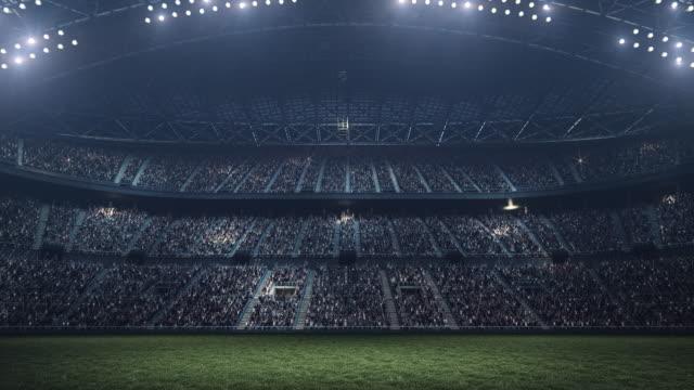 Evening soccer stadium background full of spectators