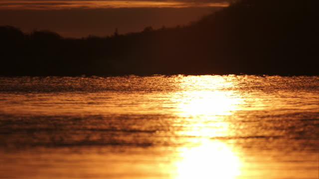 Evening sun reflected off the surface of Lake Shikotsu,Hokkaido,Japan