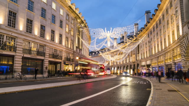 Evening time lapse of Regent Street Christmas lights, London