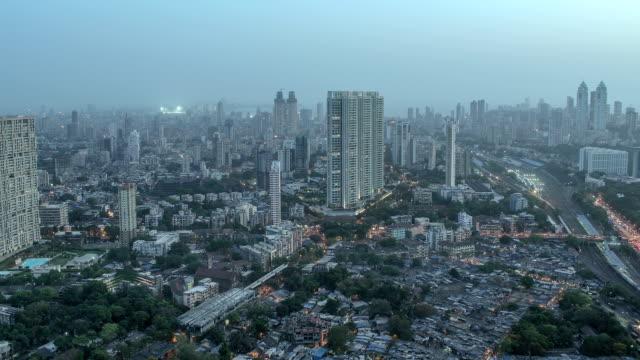 Evening to night time lapse shot of South Mumbai skyline